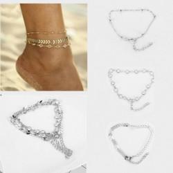 * 12 Ezüst - Boho bokaváz karkötő Strand teknős gyöngy tengeri csillag kristály gyöngy lánc karkötő