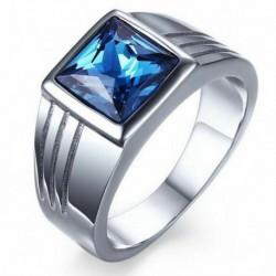 7 - Férfi kék zafír fehér arannyal töltött eljegyzési gyűrű 7 8 9 10 gyűrűs ékszer