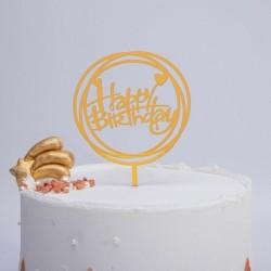 Happy Birthday - Arany színű kerek akril tortadísz szülinapra - 1