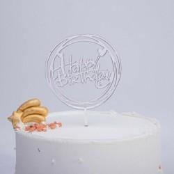Happy Birthday - Ezüst színű kerek akril tortadísz szülinapra - 2