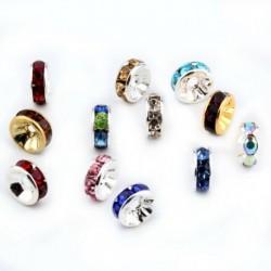 Vegyes szín - 100db Rondelle Spacer ezüst gyöngy cseh kristály strassz kerek 8mm nagykereskedelem