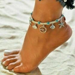 * 75 Ezüst tengeri csillag kagyló ankl ... - Divat boka karkötő nők arannyal ezüstözött boka láb ékszer lánc strand