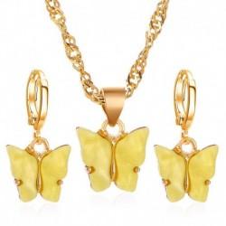 Sárga (fülbevalók   nyaklánc) - Varázsa Retro Esküvői Nászutas Akril Pillangó Női Nyaklánc Fülbevalók Ékszerek