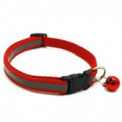 Piros - Állítható fényvisszaverő, leválasztható nejlon macska biztonsági gallér haranggal a macska cica számára