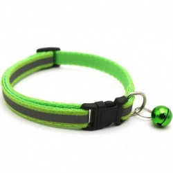 Zöld - Állítható fényvisszaverő, leválasztható nejlon macska biztonsági gallér haranggal a macska cica számára