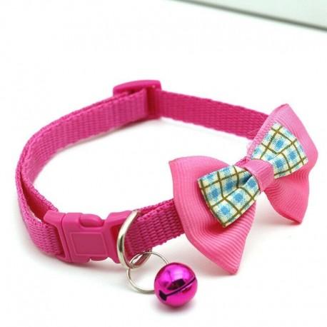 * 2 Rózsa Piros - Csokornyakkendő állítható cica nyakkendő gallér Bowknot Dot Bell Cat kisállat kiskutya