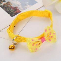 * 1 Sárga - Csokornyakkendő állítható cica nyakkendő gallér Bowknot Dot Bell Cat kisállat kiskutya