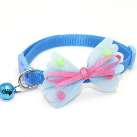 * 3 kék - Csokornyakkendő állítható cica nyakkendő gallér Bowknot Dot Bell Cat kisállat kiskutya