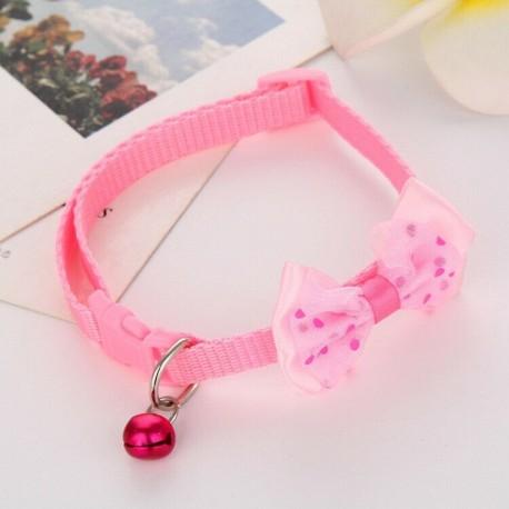 * 1 Rózsaszín - Csokornyakkendő állítható cica nyakkendő gallér Bowknot Dot Bell Cat kisállat kiskutya