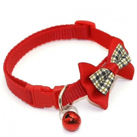 * 2 Piros - Csokornyakkendő állítható cica nyakkendő gallér Bowknot Dot Bell Cat kisállat kiskutya