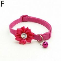 Rózsavörös - Csokornyakkendő állítható cica nyakkendő gallér Bowknot Dot Bell Cat kisállat kiskutya