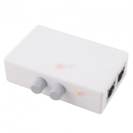 Mini Dual 2 Way Port RJ45 váltó Box Adapter HUB