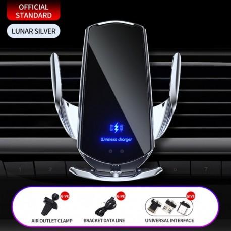 Ezüst 1 szett - 15 W / 10 W / 7,5 W / 5 W automatikus rögzítő QI vezeték nélküli autós töltő tartó tartó