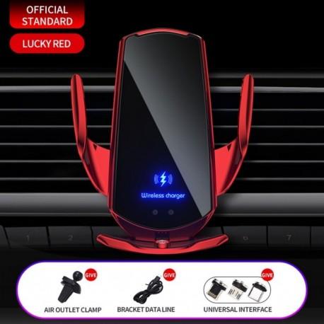 Piros 1 készlet - 15 W / 10 W / 7,5 W / 5 W automatikus rögzítő QI vezeték nélküli autós töltő tartó tartó
