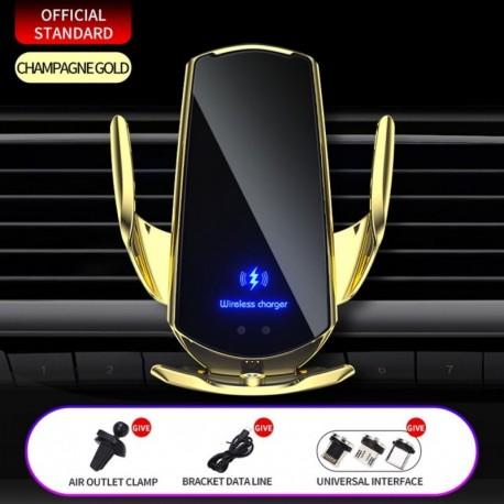 Pezsgő 1 készlet - 15 W / 10 W / 7,5 W / 5 W automatikus rögzítő QI vezeték nélküli autós töltő tartó tartó