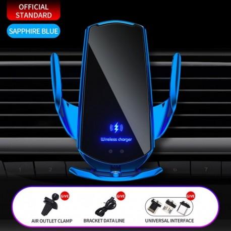 Zafír 1 készlet - 15 W / 10 W / 7,5 W / 5 W automatikus rögzítő QI vezeték nélküli autós töltő tartó tartó
