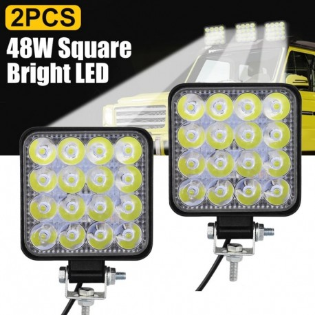 fehér - 48W négyzet alakú fényes LED-es reflektorfény munkalámpa autós terepjáró teherautó vezető ködlámpa