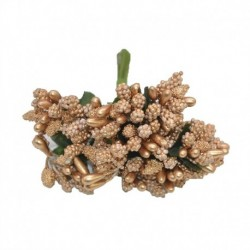 Arany - 12db / tétel Kézműves művirágok porzó cukor esküvői party dekoráció barkács koszorú ajándék doboz