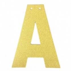 A - 1db / tétel 13 cm-es személyre szabott barkács arany csillogó papír levél szalagcímer függő zászlók esküvői