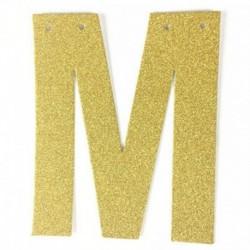 L - 1db / tétel 13 cm-es személyre szabott barkács arany csillogó papír levél szalagcímer függő zászlók esküvői