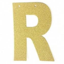 Q - 1db / tétel 13 cm-es személyre szabott barkács arany csillogó papír levél szalagcímer függő zászlók esküvői