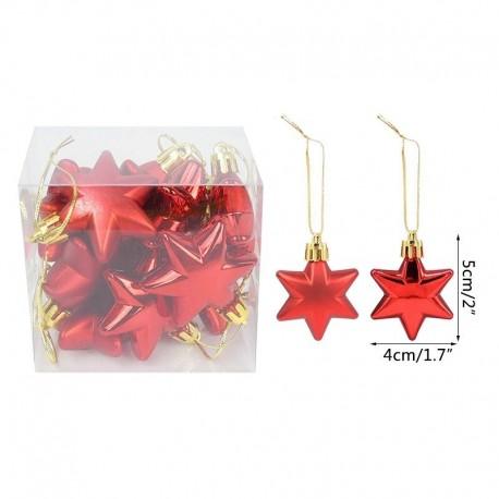 vörös csillag - 12db arany csillag szív karácsonyi díszek golyók karácsonyfa függő medál karácsonyi díszek otthoni