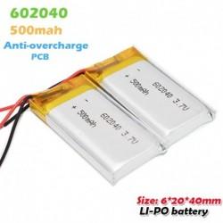 2db - 602040 3,7 V 500 mAh Li-ion lítium polimer újratölthető akkumulátor MP3 MP4 Smart Watch Bluetooth fülhallgatóhoz