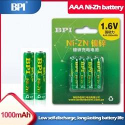 4PCS 1.6V BPI AAA 1000mWh újratölthető Ni-Zn akkumulátor játékokhoz Kameraborotvák egér elektronikus szótár PK Ni-MH