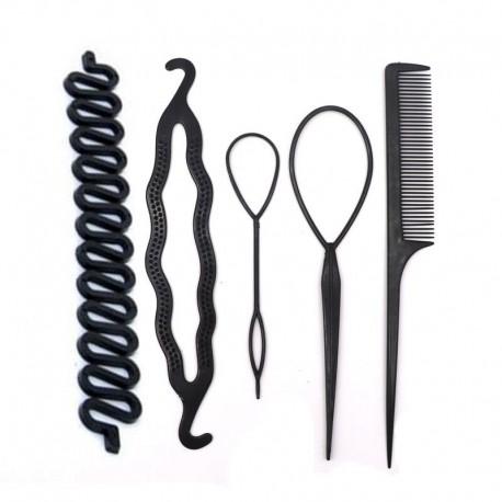 5db 6-os stílus - Női hajtű zsemle frizura fánk hajpálca szivacs csavar divat haj ráncfelvarrók hajcsavarók szövési