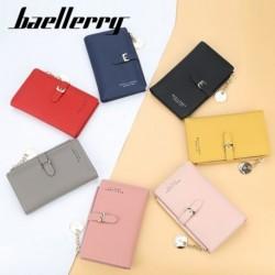 Női hosszú pénztárca egyszínű színű kártya tartó fém függő hajtogatott csat pénztárca
