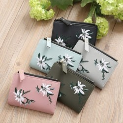 Női koreai rövid pénztárca hímzés virág cipzár Pu bőr mini érme pénztárca
