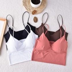 Női szexi egyszínű zökkenőmentes felsők Streetwear Intim fehérnemű párna mellény felsőruházat
