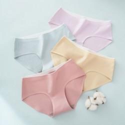 Női pamut zökkenőmentes középső derék nadrágok lélegző lányos egyszínű színes kényelmes bugyi