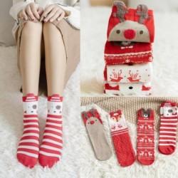 Női karácsonyi zokni dekoráció Ajándékok közepes méretű karácsonyi szarvas zokni hosszú cső középső pár pamut