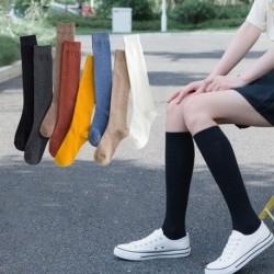 Női pamut kötés szilárd Jk kötött magas zokni alapvető színes meleg harisnya