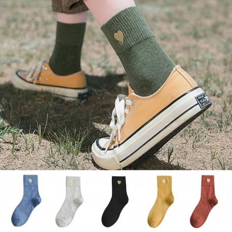 A nők szeretik a kötött hímzett pamut csónak zoknit, egyszínű színeket, laza, közepes zoknit