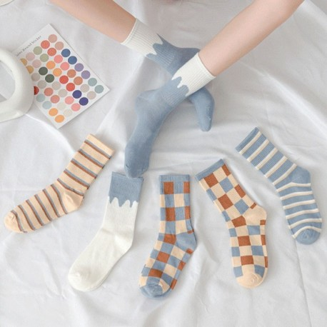 Női brit csíkos pamut halom csónak zokni egyszínű színek Laza közepes zokni