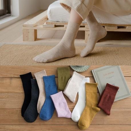 Női pamut közepes cső zokni egyszínű színek Laza közepes csónak zokni