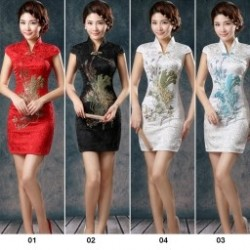 452a7121f9 1 db A hagyományos vintage kínai női szatén rövid ujjú karcsúsított  Cheongsam Qipao ruha