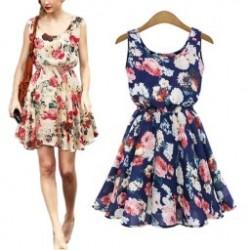 ff05f926e3 1db Női nagy virág nyomtatott sifon blúzok ruha Lady Alkalmi nadrág U-nyakú  rövid nyári