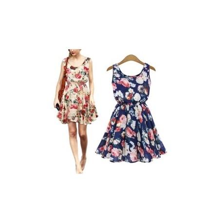 e56cd75920 1db Női nagy virág nyomtatott sifon blúzok ruha Lady Alkalmi nadrág U-nyakú  rövid nyári ruha