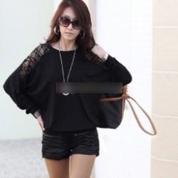 1 db női denevér ujjú felső bő laza nyári szellőzős csipkés hosszított felső ejtett vállú top póló