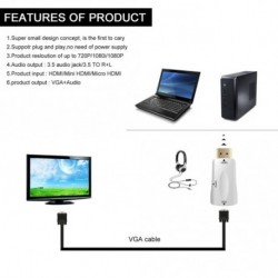 HDMI Male to VGA Női 1080p Video Converter Adapter 3,5 mm-es Audio Cable for PC RF