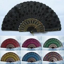 1 db Divatos kínai páva mintás szivacs szövet díszítő ventilátor legyező több színben
