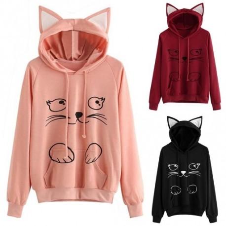 1f3d5a7d06 1 db Női Divat Cat Laza Hosszú Kapucnis Kapucnis pulóver nadrágos kabát  cica füles macska