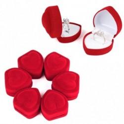 1db Mini aranyos piros szív alakú bársony gyűrű doboz ékszer tartó tároló tok
