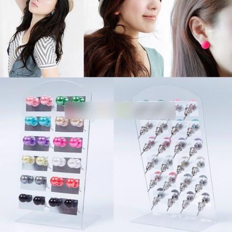 Divatos  12 pár színes 6MM  fülbevaló