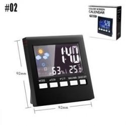 * 02 - Digitális Időjárás-előrejelzés Ébresztőóra Hőmérő Naptár LCD-kijelző