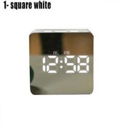 1 négyzetméter fehér - LED ébresztőóra tükör lámpaóra Éjjeli fény digitális hőmérő asztali óra