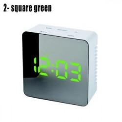 2 négyzet zöld - LED ébresztőóra tükör lámpaóra Éjjeli fény digitális hőmérő asztali óra